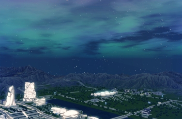 Sims 3 cityscape taken with lighting mods.