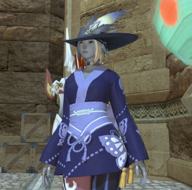 Zuri wearing a yukata glamoured onto bard armor.