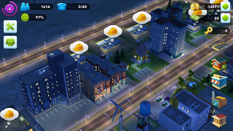 This is what your residential area looks like - all these bubbles requesting resources to upgrade.