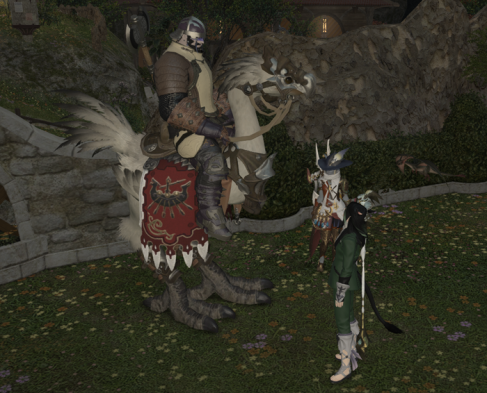 A FC member displays his newly-dyed white chocobo!