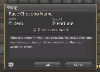 Naming my first chocobo
