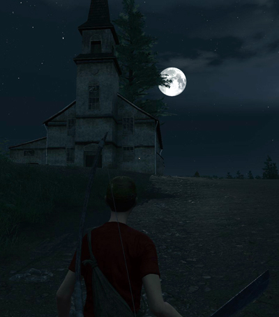 We set up camp next to this spooky looking church.