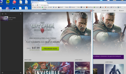 The GoG Galaxy client overlapping the GoG website - they're identical