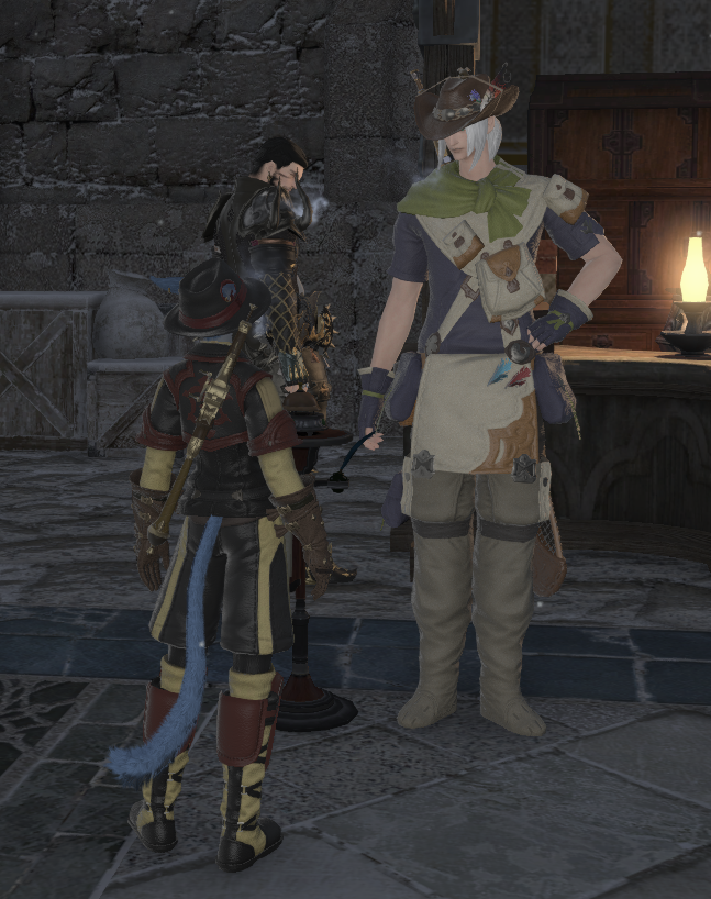 Zuri in her 53 gathering outfit, and my retainer in his full fishing getup!