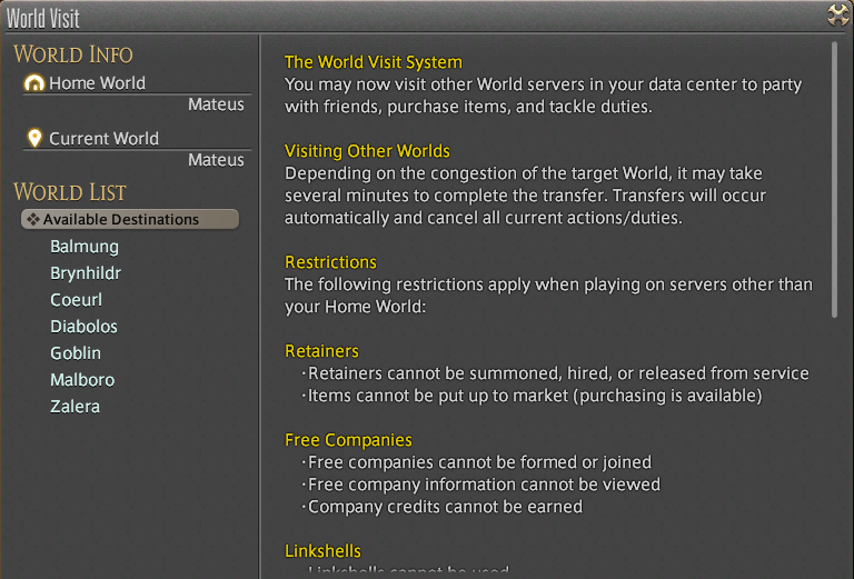 FFXIV: The World Visit Feature is Live – Aywren Sojourner